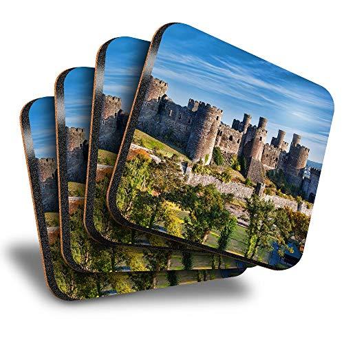 Destination Vinyl ltd Great Posavasos cuadrados (juego de 4) – Welsh Conwy Castle Wales Drink brillante posavasos / protección de mesa para cualquier tipo de mesa #16376