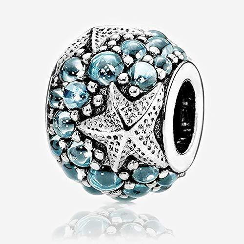 PANDOCCI Cuentas de bricolaje Se adapta a Pandora pulsera para el verano de 2016 encantos Oceánica estrella de mar con circonio cúbico 100% 925 Charm (1PCS, Azul oscuro)
