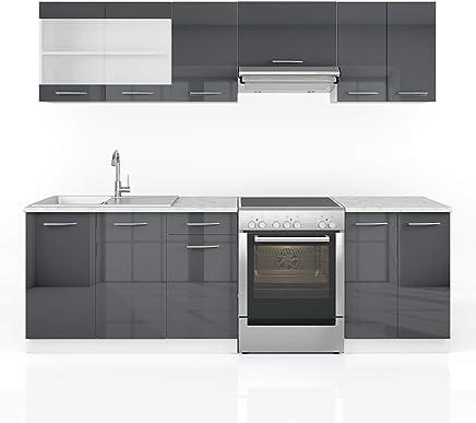 Vicco Küche Raul Küchenzeile Küchenblock Einbauküche 240 Cm Anthrazit  Hochglanz   Frei Kombinierbare Einheiten