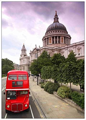 Amymami Cuadro sobre Lienzo Londres autobuses Rojos y cabinas telefónicas Cartel Carteles revestidos decoración del hogar 60x90cm