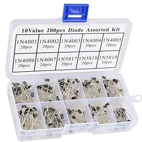 LinaLife 10 Value 200pcs Rectifier Diode 1N4001 1N4002 1N4003 1N4004 1N40051N4006 1N4007 1N5817 1N5818 1N5819 (Each Type 20pcs) Zener Diode Assortment Kit with Label & Clear Box