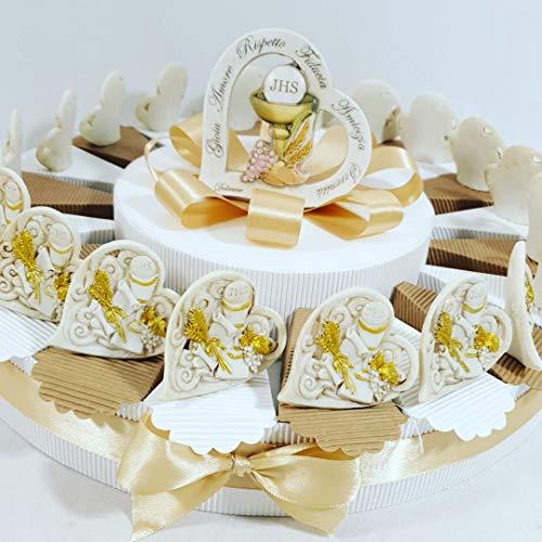 Bomboniere Battesimo, Comunione, cresima Prezzi Bassi (Torta Comunione Cuore Calice 20 fette+Centrale+Confetti)