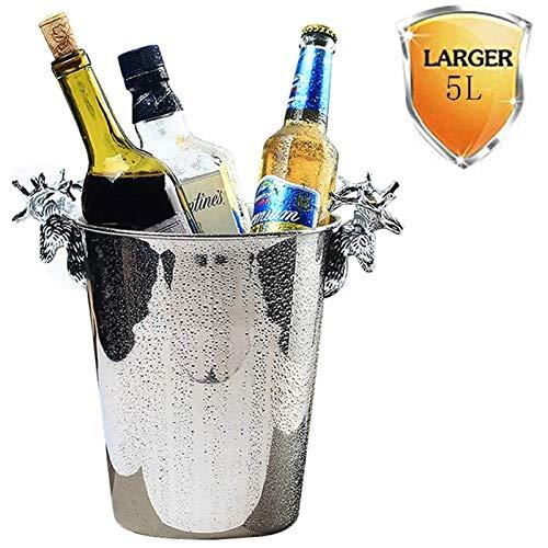 YWSZJ Cubo de Hielo de Doble Pared de Acero Inoxidable con cucharón con Tapa y barware Embarque for Fiestas Eventos (Size : 5L)