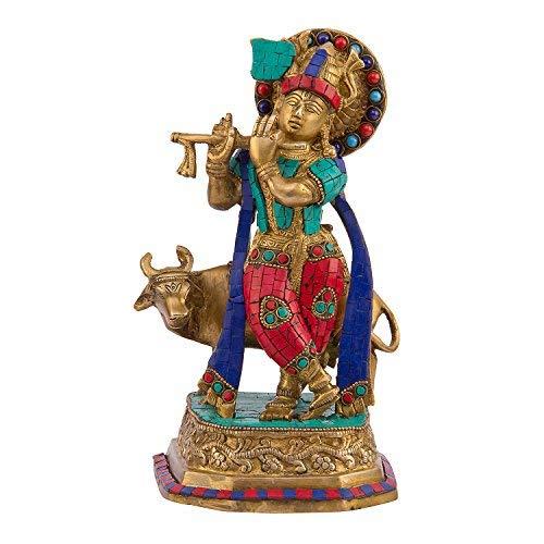 Multicolor Krishna Jouant de la flûte traversière, Multicolore, Taille : 12,7 x 11,9 x 24,1 cm