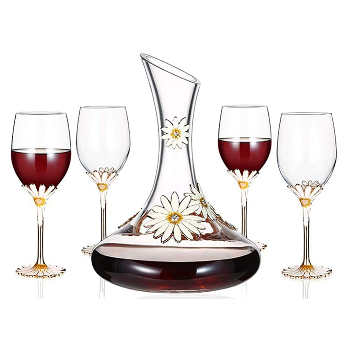 1.5L Wine Decanter with 4 Red Wine Glasses (350ML) Set - 100% Hand Blown Lead-free Crystal Glass, Red Wine Carafe, Whiskey bottle, Wine Gifts, Wine Accessories - Best for Home Use and Party or Bar
