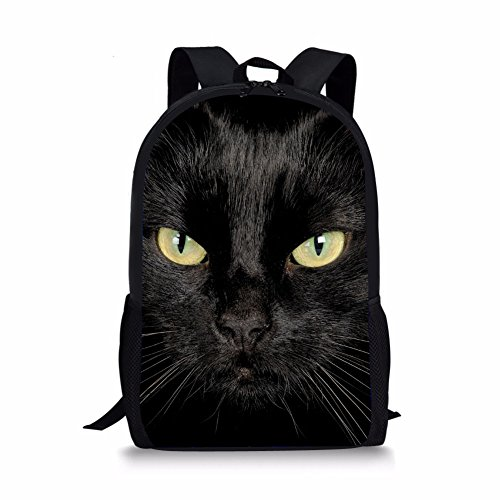 Coloranimal Fashion Black Cat Pattern 3D Animal Printing School Backpack for Kids Back to School