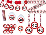 24-tlg. Partyset 40. Geburtstag Dekoset Dekobox - Verkehrschild - Girlanden, Luftballons