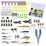 Chstarina 120 Piezas Señuelos de Pesca Kits de Señuelos Pesca Accesorios de Pesca Cebos Artificiales Articulos de Pesca Incluido Caja Tackle Ganchos Tijeras Cebos Grillos y más