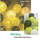 Morbuy LED Kugel Lichterkette, 20 Baumwollkugeln Lichter Batteriebetrieben Warmweiß Cotton Ball LED...