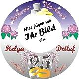 Tortenauflage Silberne Hochzeit, personalisiert mit Foto und Namen, rund -
