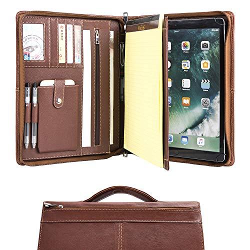 Carpeta de conferencia de cuero hecha a mano con cremallera para iPad Pro 12.9 (2015/2017), carpeta de escritura, bolso organizador de carpeta A4, carpeta de negocios, marrón