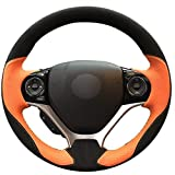 MDHANBK Handgenähte Anti-Rutsch-Radkappe aus schwarzem Wildleder in Orange, für Honda Civic 9 2012-2015 Fahrzeuginnenraum