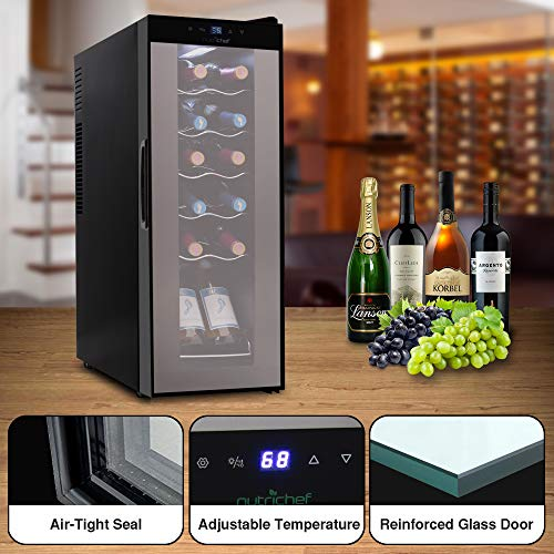 Nutrichef PKCWC120 Refrigerator-White & Red Chiller Countertop Cooler-Freestanding Compact Mini Wine Fridge 12 Bottle Capacity, Digital Control, Glass Door