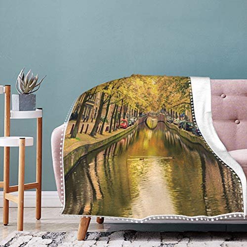 Alysai Bridge On The Canal The Capital of Holland with Trees Christmas Holiday Throw Blanket Warm Throws for Winter Bedding,Couch,Sofa and Gift 60'x50'