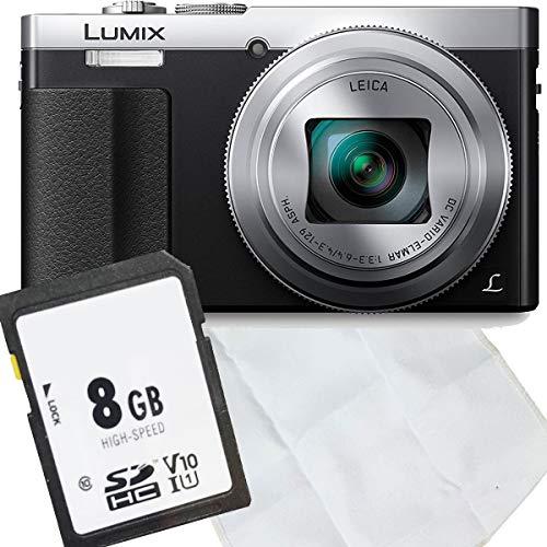 Panasonic Lumix DMC-TZ71EG-S - Kit de iniciación (tarjeta de memoria de 8 GB y gamuza de microfibra), color plateado