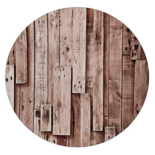 LCGGDB Wooden 3D Decorative Window Film,Vintage Barn Shed Floor Wall Planks Sepia Art Old Natural Plywood Lodge Image Print Frosted Window Glass Film for Home Office,Round 32'x32',Grey Brown
