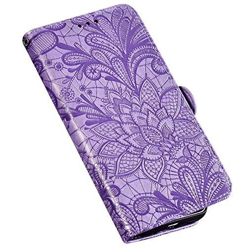 QPOLLY Kompatibel für Sony Xperia XZ3 Hülle Leder Tasche Flip Case Spitzeblume Muster Handytasche Magnet Schutzhülle im Brieftasche-Stil mit Kartenfächer Standfunktion,Lila
