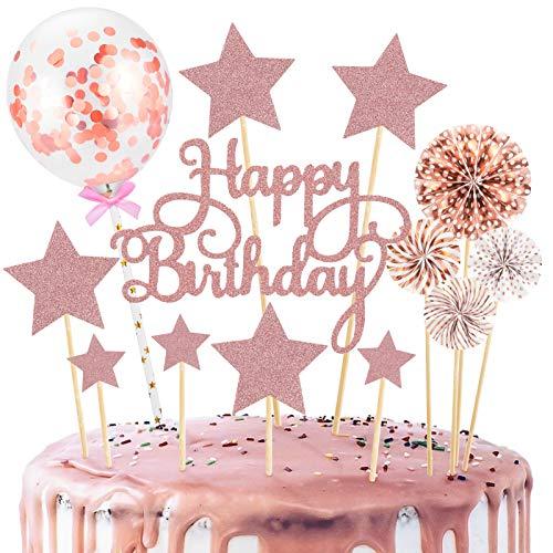 14 Stück Tortendeko Cake Topper, Happy Birthday Kuchendeko Kuchen Topper Roségold Konfetti-Luftballons und Papierfächer für Tortendeko Geburtstag