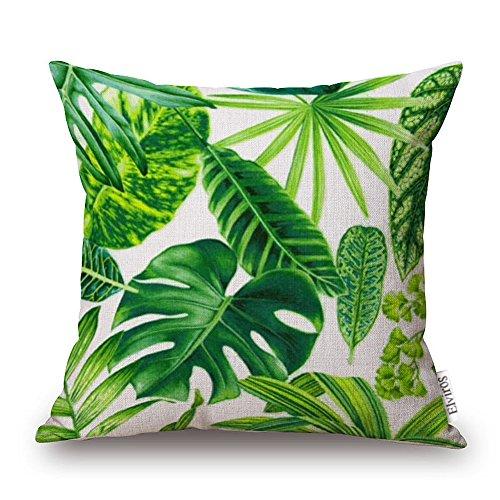 Elviros Dekorativ Baumwoll Leinen Mix Kissenbezug 45 x 47cm - Tropische Blätter