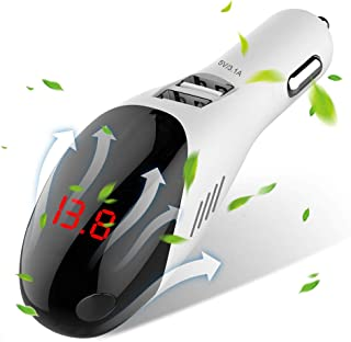 AVOD Car Charger 3.1A Dual USB Port, Intelligent with Current/Voltage Digital Display for Galaxy S9/S8/Edge/Plus,iPhone Xs/Max/XR/X/8, iPad Pro/Air 2/Mini (White)