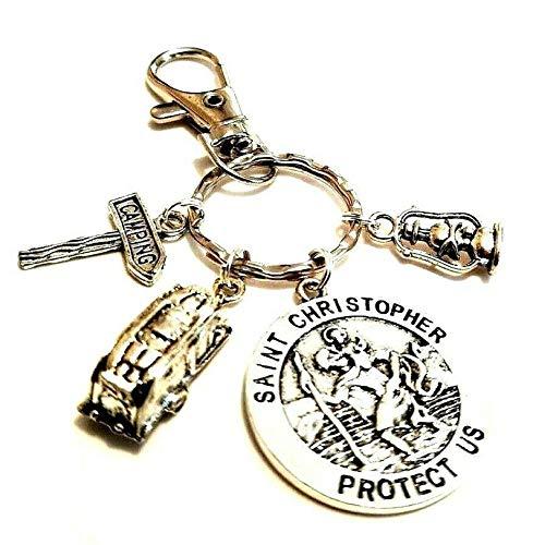 Schlüsselanhänger mit St. Christophorus-Motiv, für Reisen, Auto, Wohnmobil, Winnebago, Schutz für Öllampe, Camping, Zelt, Medaille