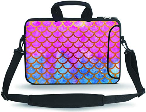 RUYIDAY 11 11.6 12 12.5 13 inches Case Laptop/Chromebook/Ultrabook/MacBook pro air Notebook PC Messenger Bag Tablet Travel Case Neoprene Handle Sleeve with Shoulder(Mermaid Scale)