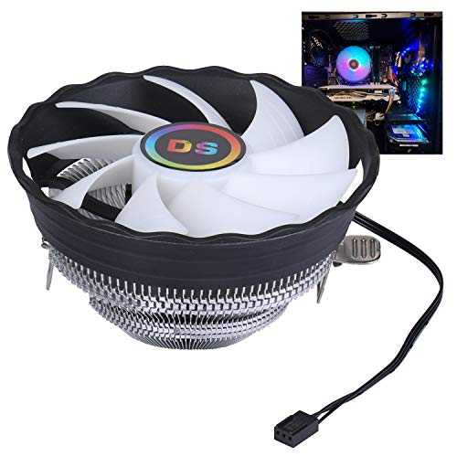 DS 1900RPM CPU Cooler, Aluminum Extrusion Cooling CPU Fan for Intel LGA 775/1155/1156/1366 (Axis Rainbow Auto Change, C Series)