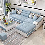 Best furniture 4 Seater Sofas (Wood,Blue)