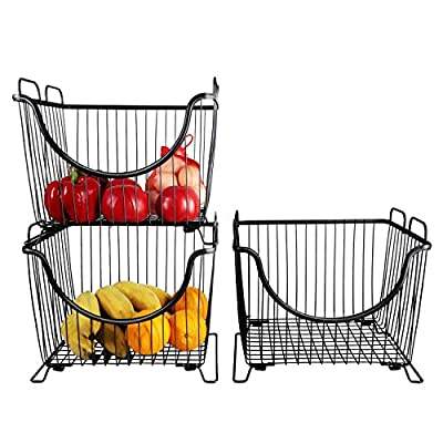 "N /A TCHANHOME Stackable Storage Baskets Cabinet Organizer Sturdy Metal Wire Pantry Bin for Home Bathroom Kitchen Organization 12.7×10.8×10.7"" Set of 3 from TCHANHOME"