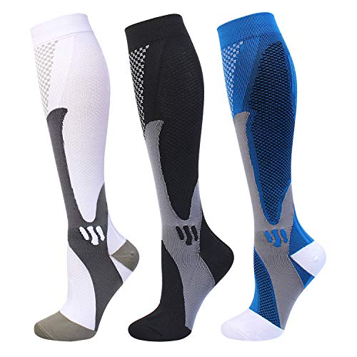 Compression Socks 20-30 mmHg for Men Women Medical Nurses Athletic Travel (White+black+blue, XXL)