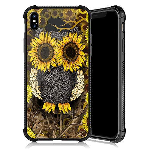 iPhone XR Case,Sunflower Owl Pattern Tempered Glass iPhone XR Cases for Girls [Anti-Scratch] [Anti Fall] Elegant and Luxury Design Cover Case for iPhone XR(6.1inch)