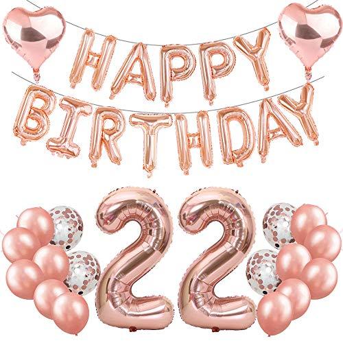 Feelairy 22. Geburtstag Dekoration Rosegold 22th Geburtstag Party Deko Set, Ballons Happy Birthday Girlande, Riesen Luftballons Zahl 22, Folienballon Herz, 22. Geburtstagsdeko für Mädchen Damen
