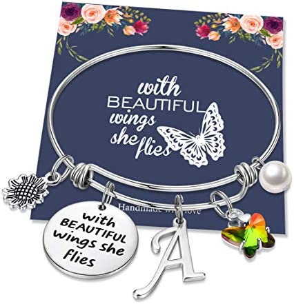 Hidepoo Butterfly Gifts for Women Bracelet Inspiration Quote Stainless Steel Bangle Bracelet product image