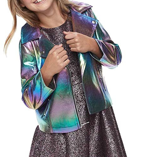Disney Girls Descendants Faux Leather Motorcycle Jacket, Rainbow Metallic, Small (7/8)