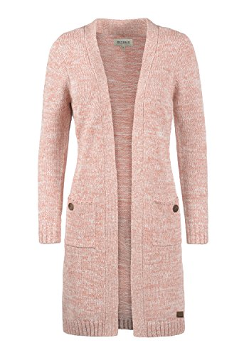 DESIRES Philetta Damen Lange Strickjacke Cardigan Grobstrick Winter Longstrickjacke, Größe:XL, Farbe:Powder Rose (5178)