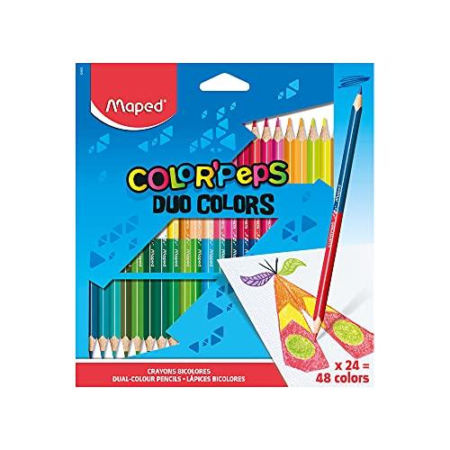 Maped - Pack de 24 lápices de colores DUO, el doble de colores. Madera FSC (829602ZV)