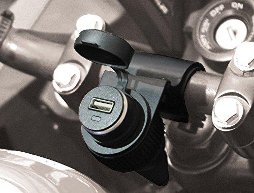 BC Battery Contrôleur de batterie 710-S12USB Prise allume-cigare étanche avec support de guidon pour moto avec adaptateur USB 5 V