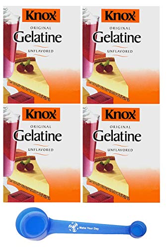 Knox Gelatin Mix, Unflavored, 1 oz (Pack of 4) - with Make Your Day 4-in-1 Measuring Spoon
