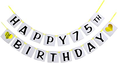 Happy 75TH Birthday Banner - Gold Glitter Heart for 75 Years Birthday Party Decoration Bunting (White)