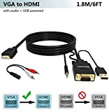 FOINNEX Cable VGA a HDMI Adaptador con Audio (Convertidor de PC Antigua a TV/Monitor con HDMI Hembra Conversor) Activo Hacer Conector VGA to HDMI Macho 1080P Video y Sonido para Laptop,Proyector, 1.8M