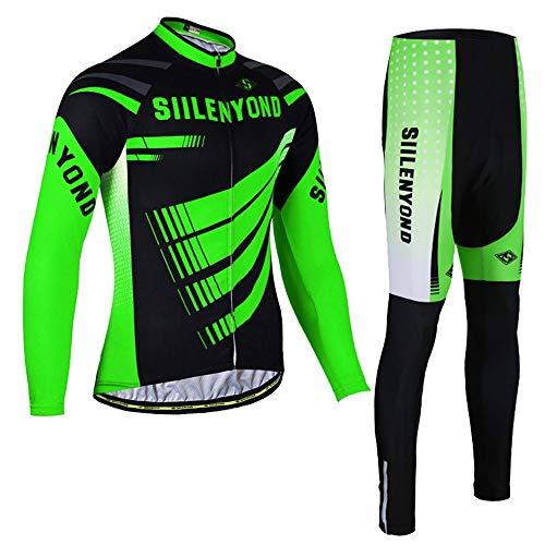PGone Faire du vélo d'hiver Maillot - en Plein air Longue Route Manches vélo VTT Vêtements Costumes Set Classic Vert (Size : XX-Large)