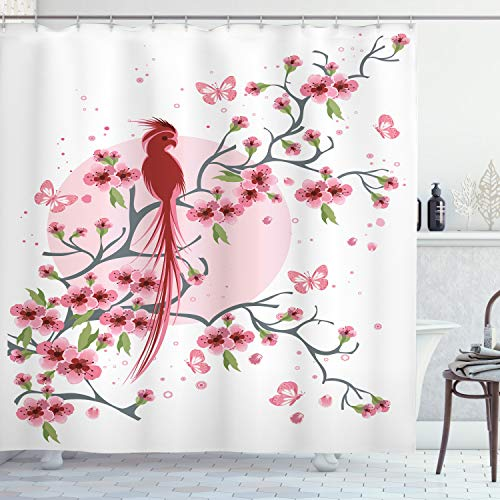 ABAKUHAUS Japans Douchegordijn, Mythische Vogel van Phoenix, stoffen badkamerdecoratieset met haakjes, 175 x 220 cm, Roze
