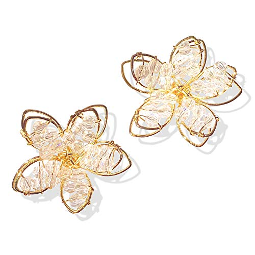 D.Rosse Unique Boho Handmade Chic White Hollow Crystal Double Layer Flower Stud Earrings Summer Beach Vacation Floral Earrings for Women Girls (Gold)