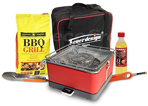 Feuerdesign Rauchfreier Holzkohle Tischgrill TEIDE v Rot, im Super Pack mit viel Grill-Zubehör