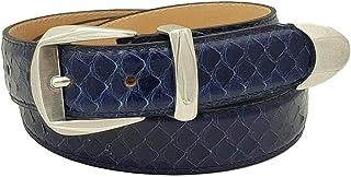ESPERANTO Cintura da Donna in pitone 3 cm fodera vera pelle cuoio Nabuk, Made in italy, accorciabile