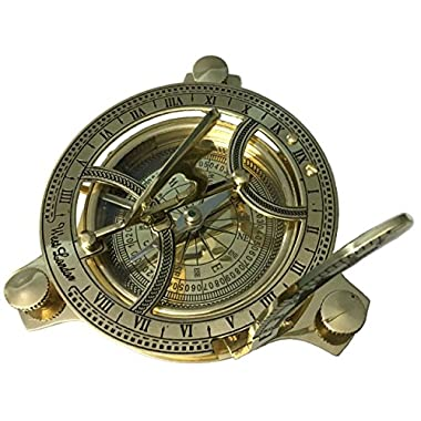 INDIA OVERSEAS TRADING CORP 4.5  Sundial Compass With Teak Wood Box Inlaid With Solid Brass