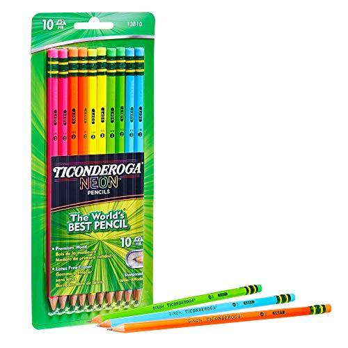 Dixon Ticonderoga No.2 Pencils, Assorted Neon, 10-Pack