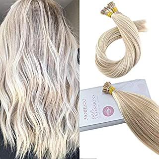 Moresoo 20 Inch I Tip Real Human Hair Extensions I Tipped Hair Extensions Ash Blonde Highlighted with Bleach Blonde Pre-bonded Tipped Hair Extensions 50g 1g/s