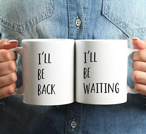 Andaz Press 11oz. Ceramic Coffee Mugs Valentine's Day Wedding Anniversary Couples Gift Set, I'll Be Back, I'll Be Waiting, 2-Pack, Distance Friends Moving Away Christmas Birthday Gift Ideas