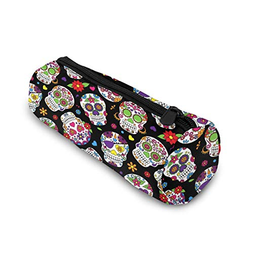 Sugar Skull and Flowers Cylinder Pencil Case Holder Zipper Pen Bag Pouch Students Cosmetic Makeup Bag